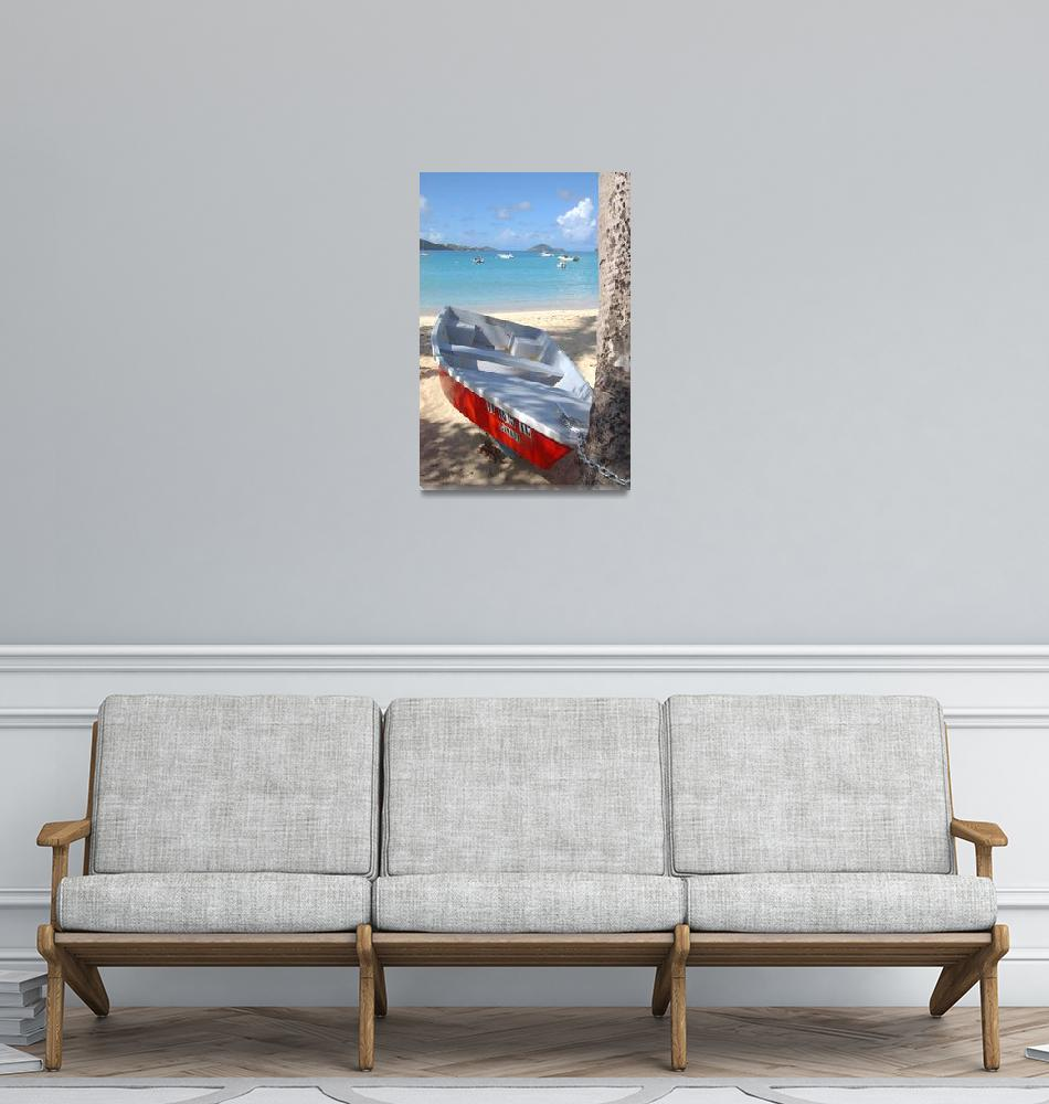 """""""Boat on beach""""  (2007) by Erica_Marshall"""