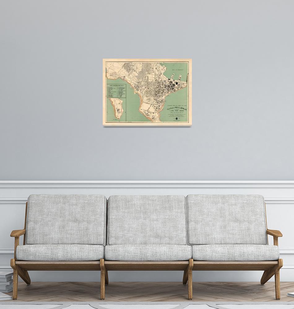 """Old Dakar Senegal Map (1925) Vintage Senegalese Ca""  by Alleycatshirts"