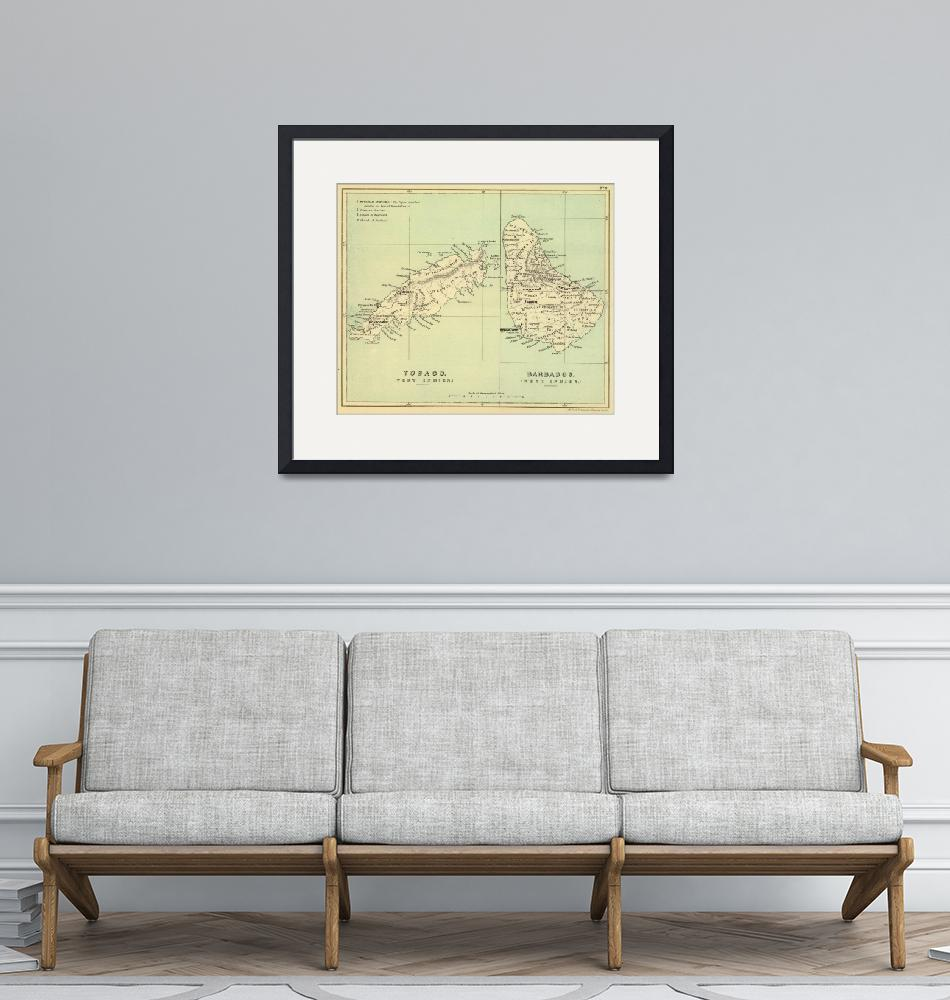 """Vintage Map of Barbados and Tobago (1853)""  by Alleycatshirts"