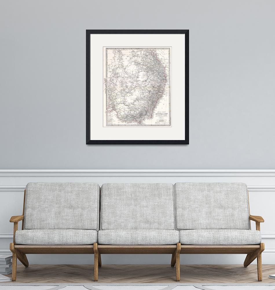 """Vintage Map of Eastern Australia (1876)""  by Alleycatshirts"