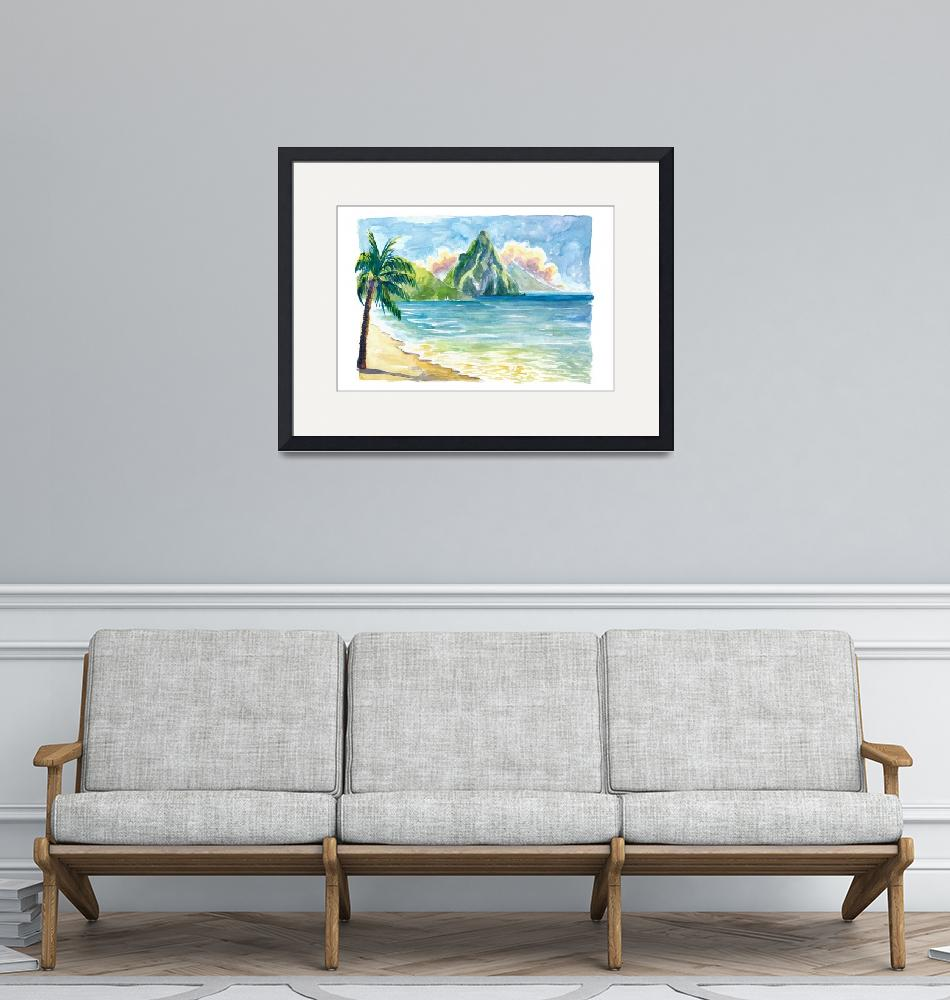 """""""Pitons Saint Lucia with Incredible Caribbean Sunse""""  (2021) by arthop77"""