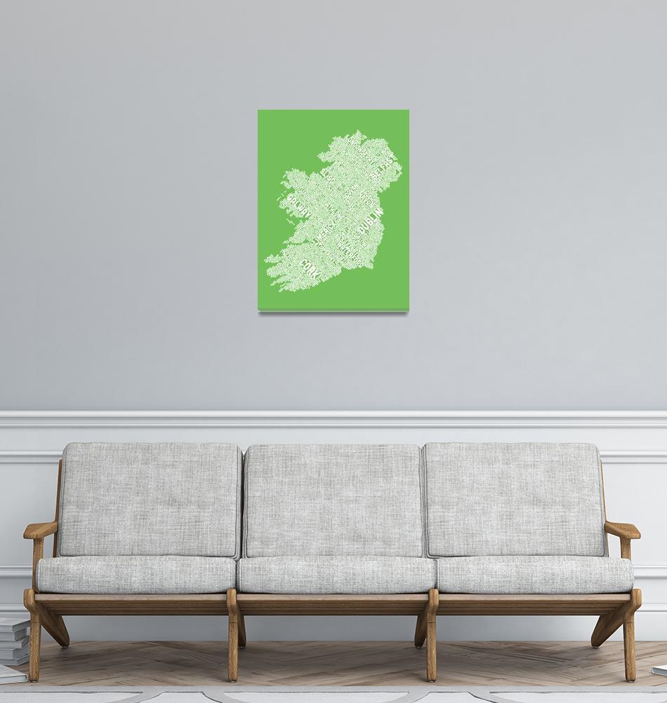 """Ireland Eire City Text map""  by ModernArtPrints"