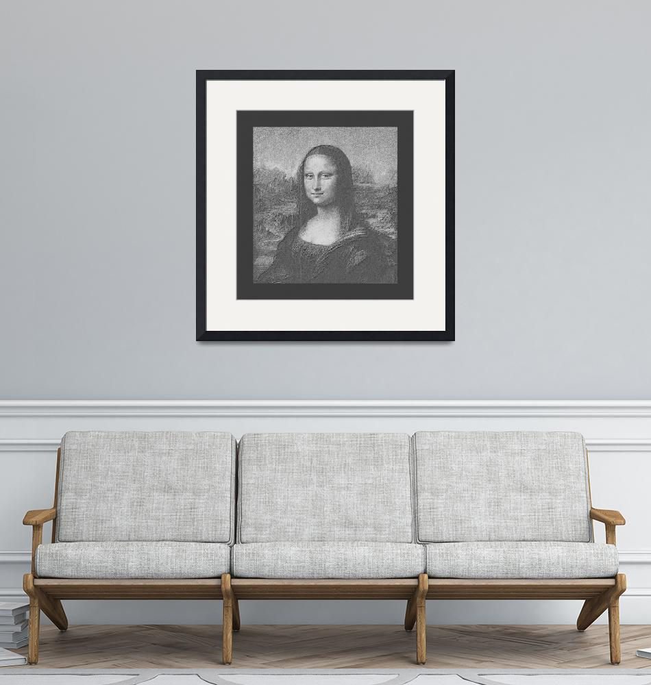 """Mona Lisa Cropped B&W medium border""  (2013) by TheNorthernTerritory"