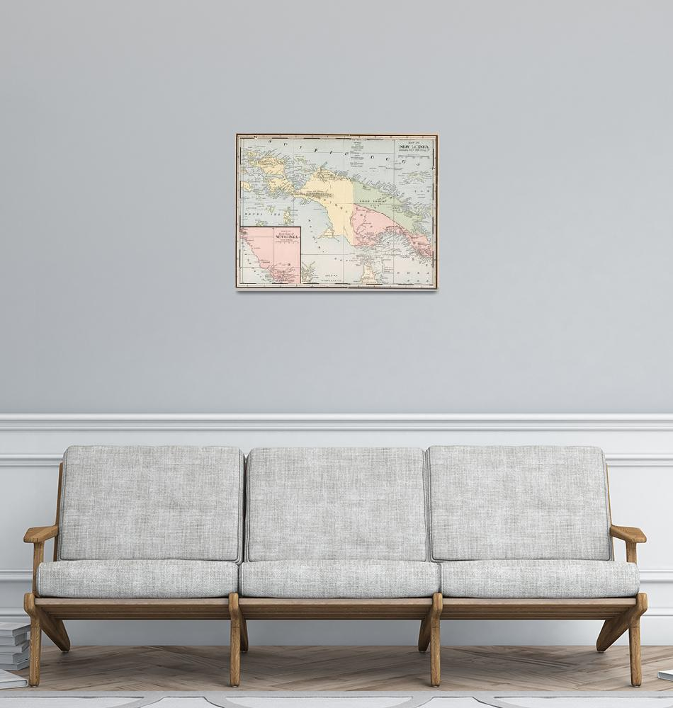 """""""Vintage Map of New Guinea (1901)""""  by Alleycatshirts"""
