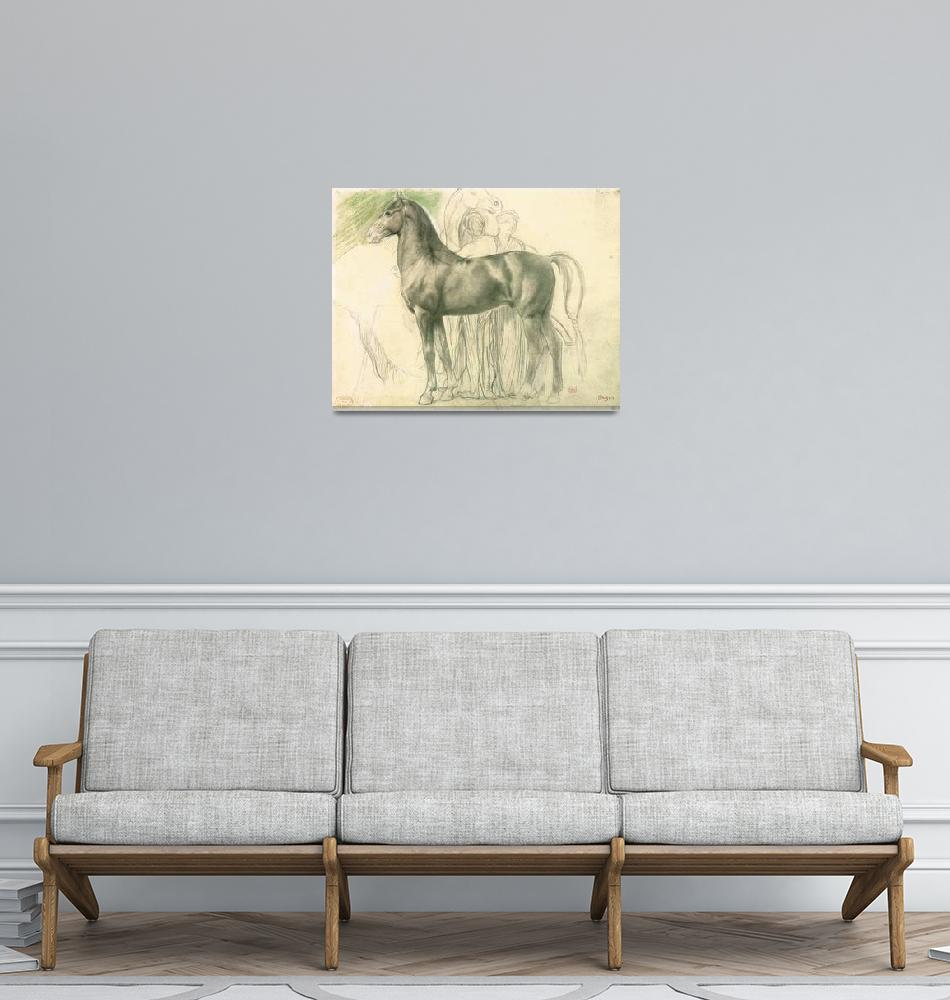 """""""Edgar Degas Study of a horse with figures"""" by oldies"""