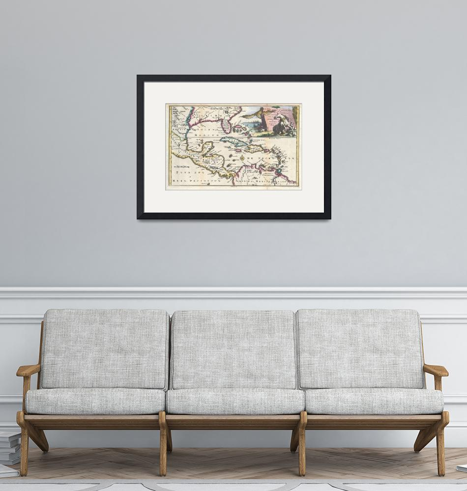 """Map of Florida, Mexico, & West Indies by Ruyter""  by FineArtClassics"