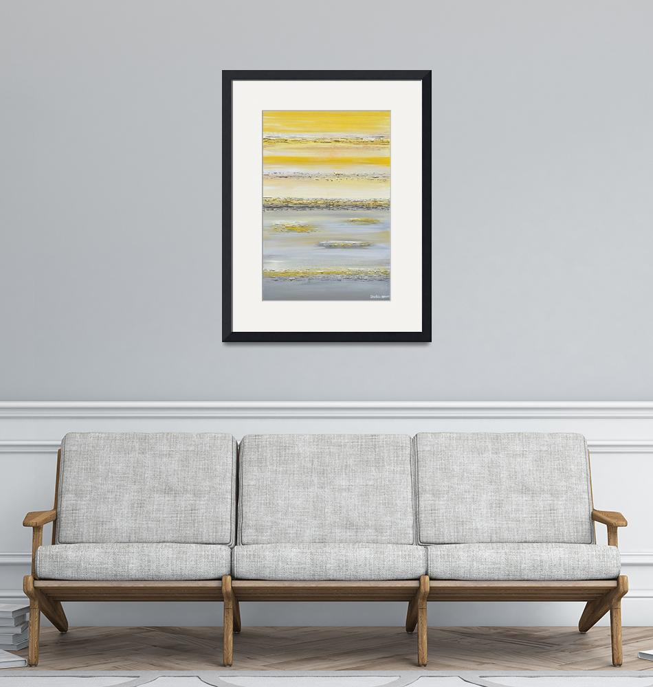 """""Summer Reflections"" Yellow Grey Abstract""  (2014) by ChristineBell"
