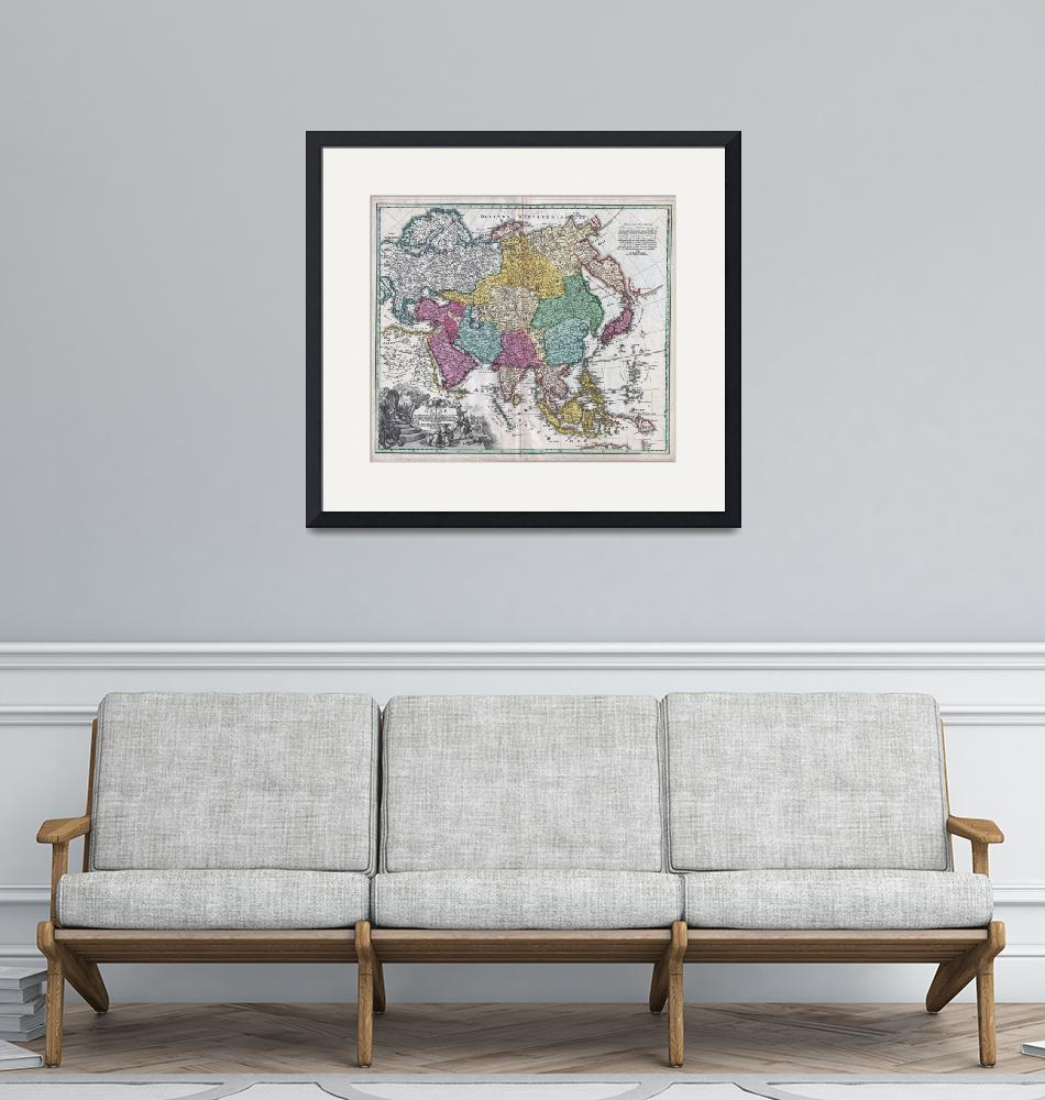 """""""Map of Asia 1730 Homann""""  by FineArtClassics"""