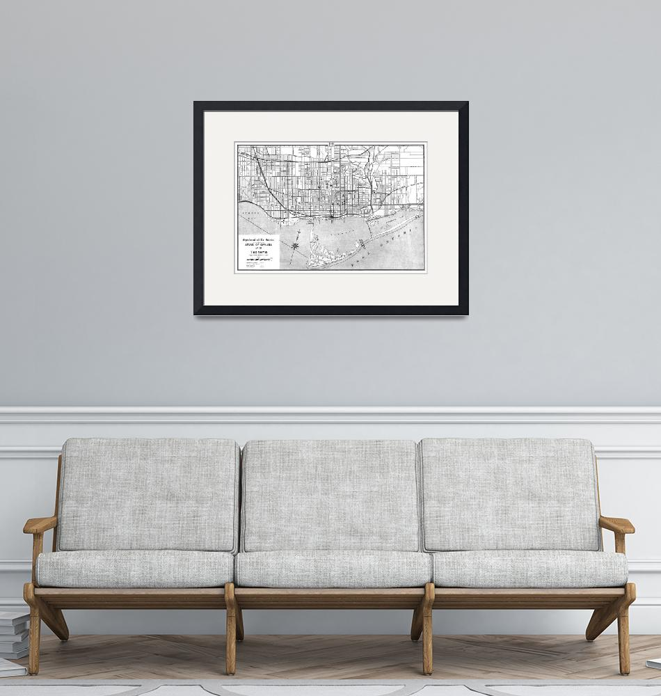 """""""Vintage Map of Toronto (1906) BW""""  by Alleycatshirts"""