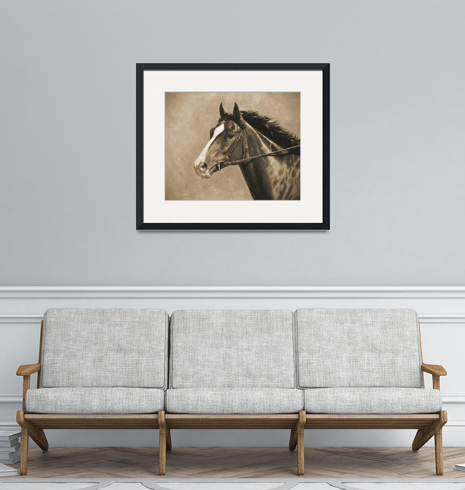 """Thoroughbred Horse In Sepia""  (2014) by csforest"