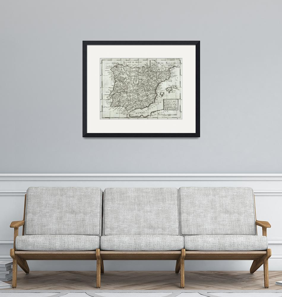 """Map of Spain and Portugal""  by fineartmasters"