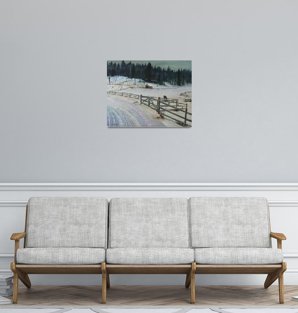 """""""Winter at the Horse Farm in New Hampshire""""  (2014) by mbpgrafix"""