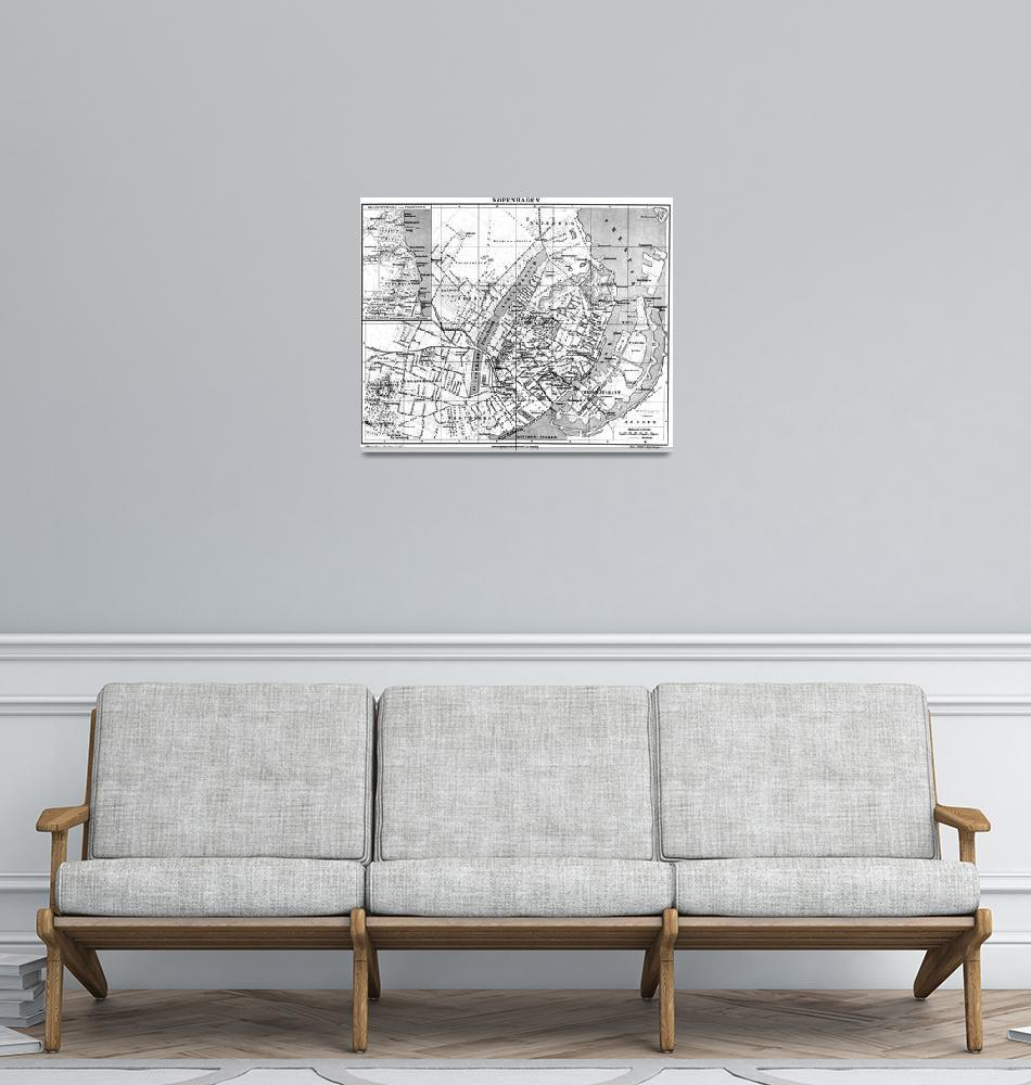 """Vintage Map of Copenhagen Denmark (1888) BW""  by Alleycatshirts"