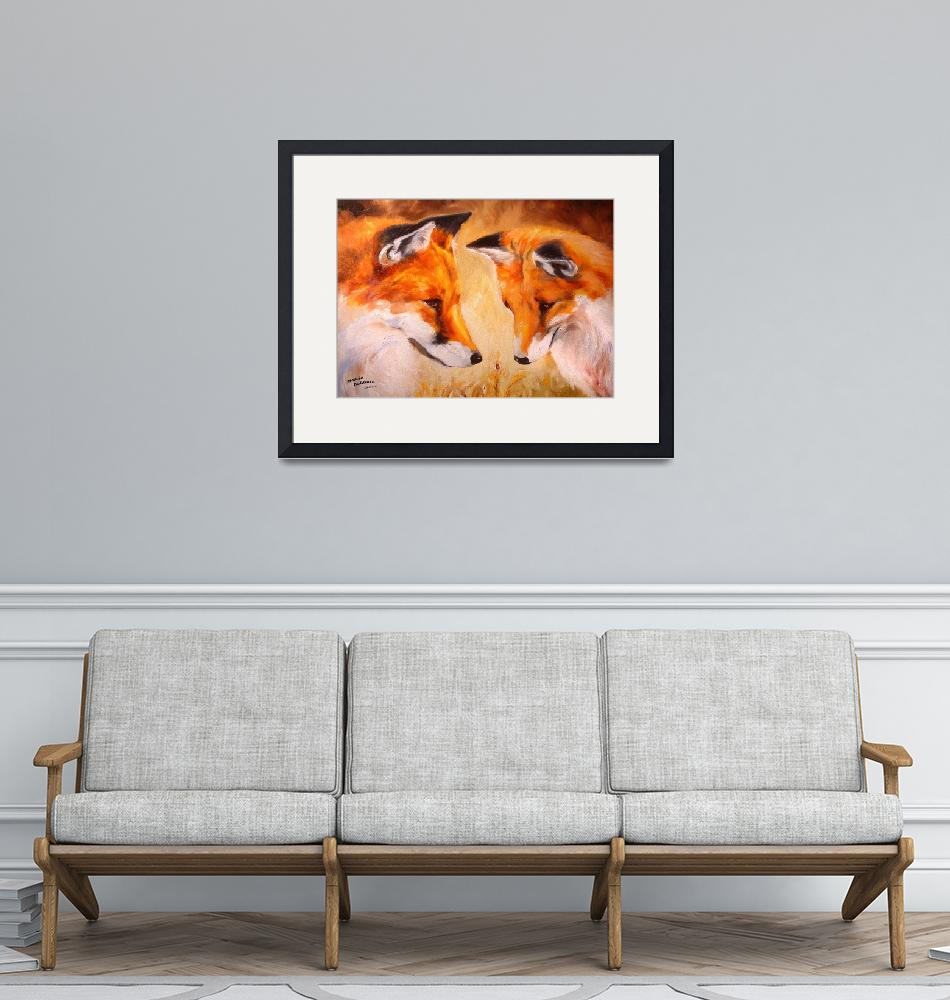 """TWO FOX and a LADYBUG""  (2006) by MBaldwinFineArt2006"