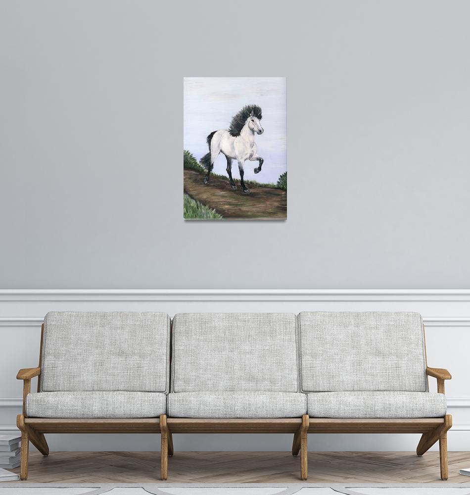 """""""Folk Art Icelandic horse""""  (2006) by inkandbrushcreations"""