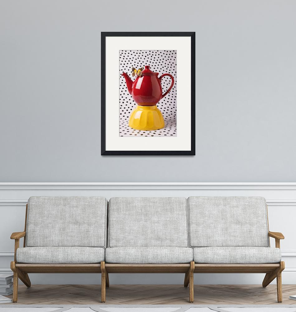 """""""Red teapot with butterfly"""" (2012) by photogarry"""