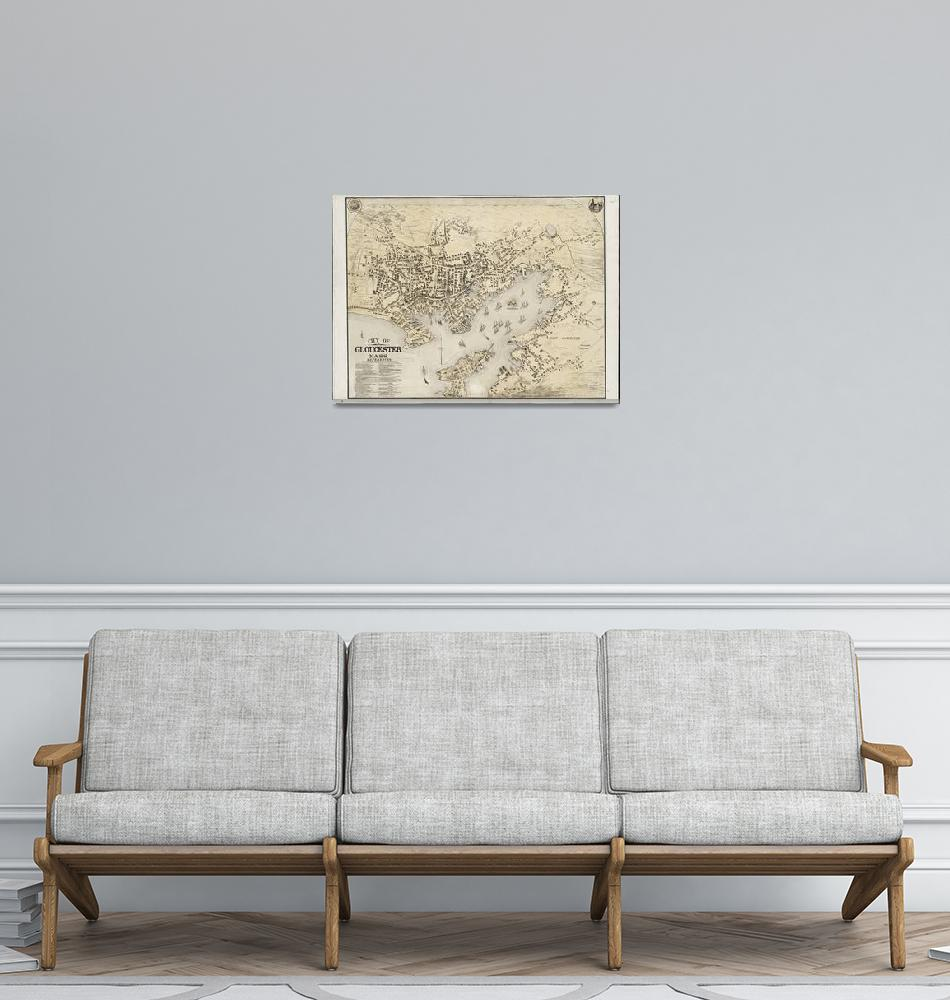"""Vintage Map of Gloucester MA (1873)""  by Alleycatshirts"
