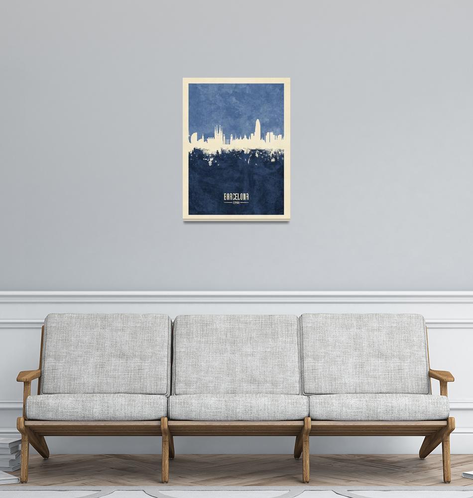 """Barcelona Spain Skyline""  (2018) by ModernArtPrints"