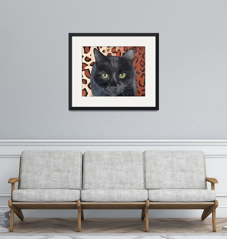 """Black Cat on a Leopard Rug""  (2005) by evansonart"