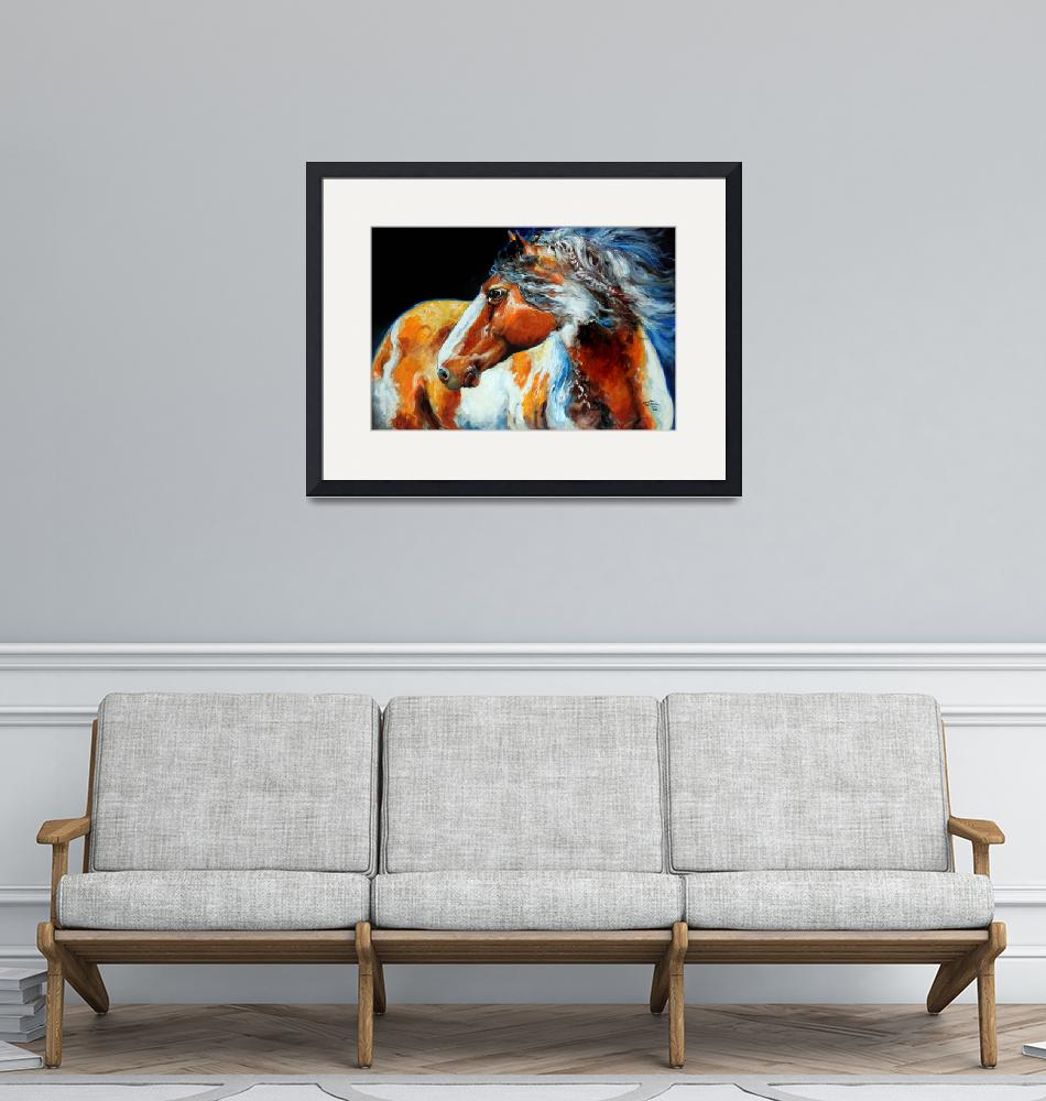 """""""MOHICAN INDIAN WAR HORSE""""  (2013) by MBaldwinFineArt2006"""