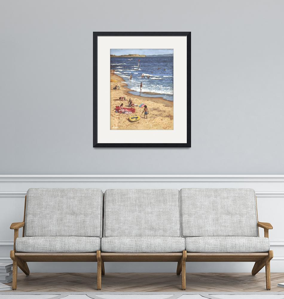 """""""people on bournemouth beach Blue Sea""""  (2011) by martindavey"""