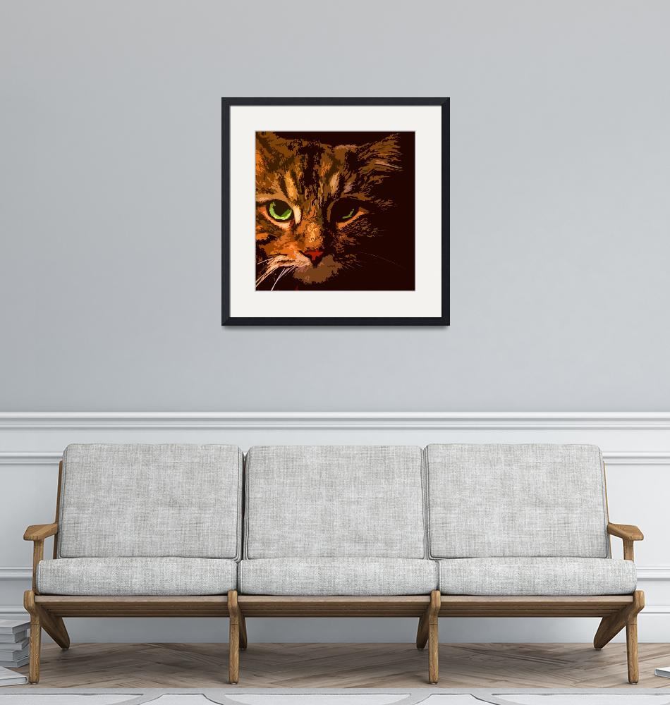 """""""Maine Coon Cat in Shadows""""  (2008) by bztat"""