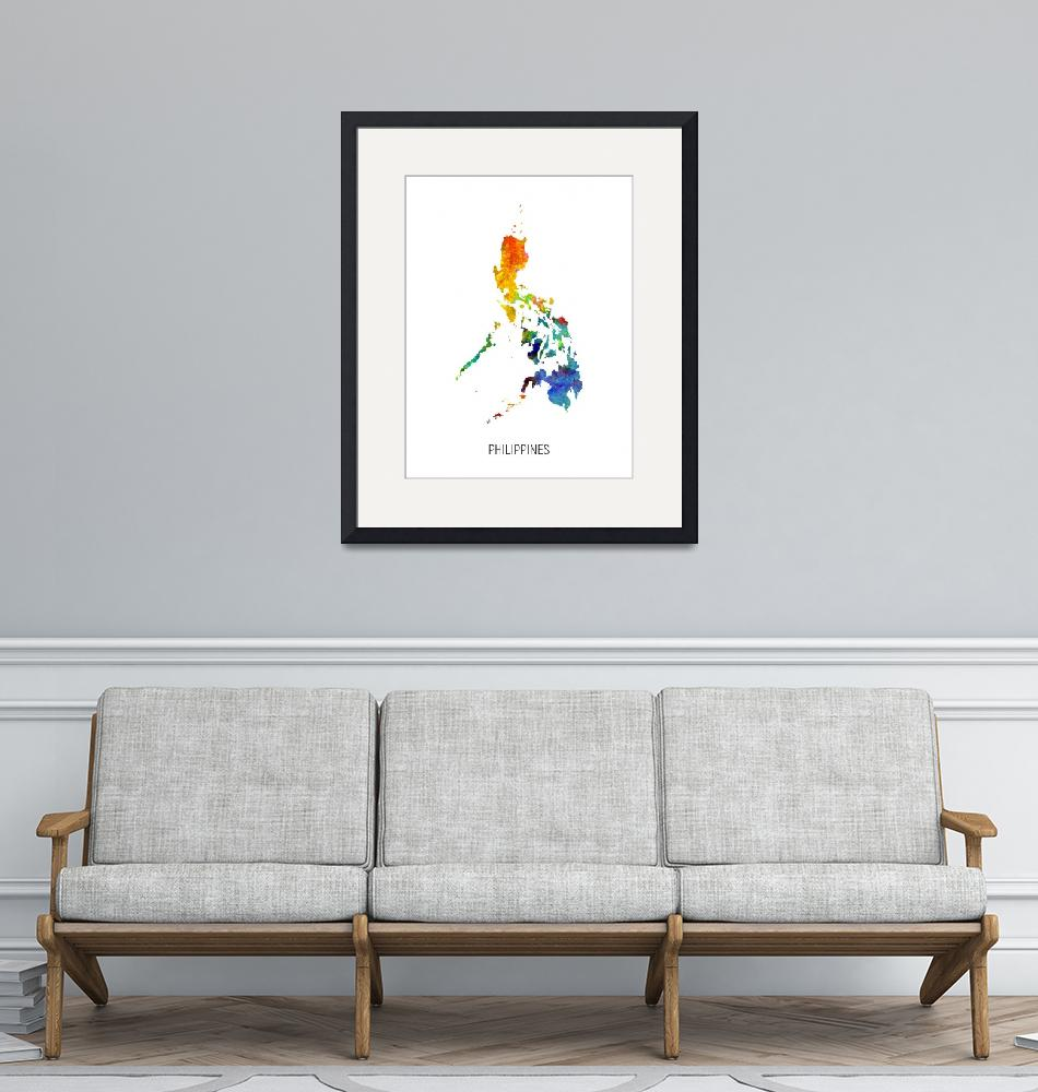 """""""Philippines Watercolor Map""""  (2019) by ModernArtPrints"""