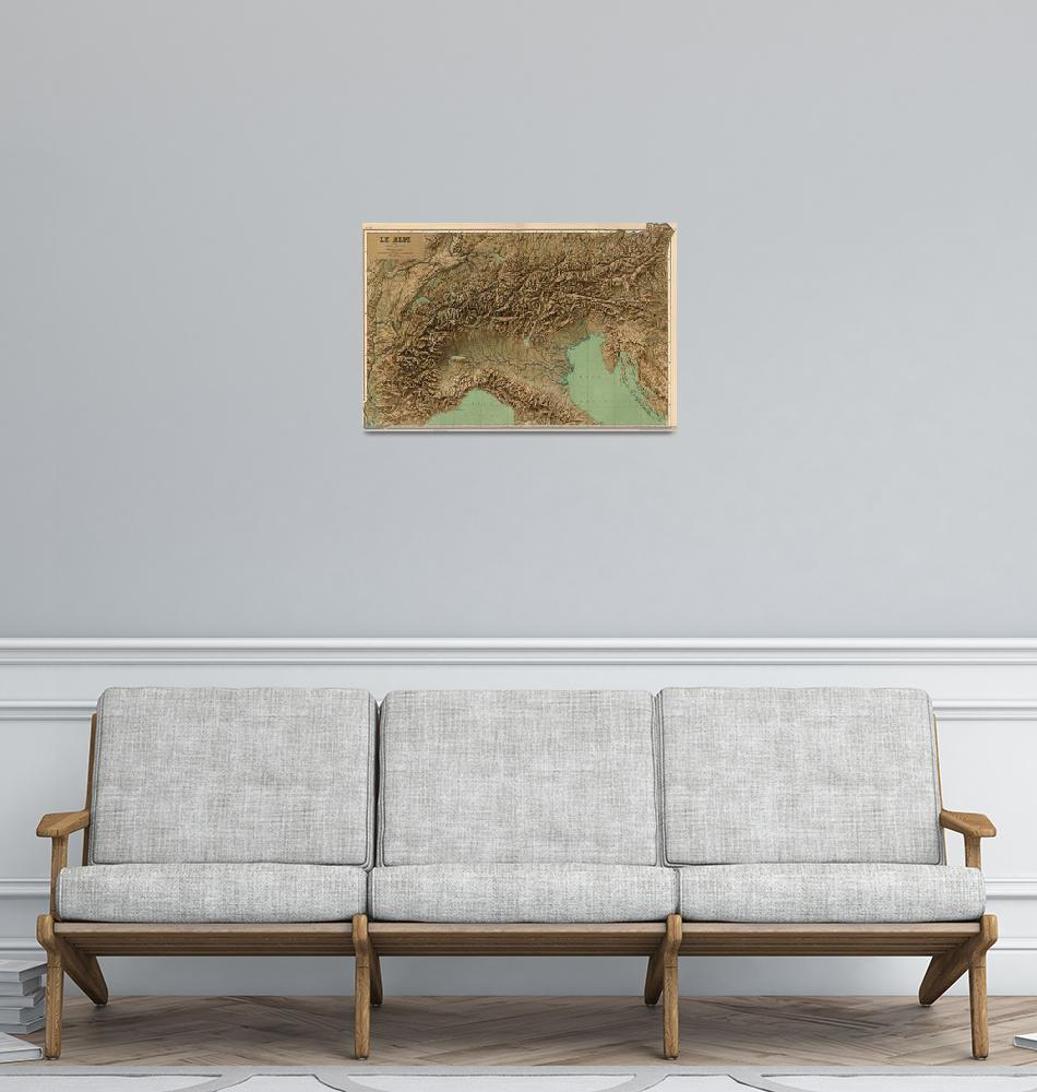 """""""Vintage Map of Northern Italy (1899)""""  by Alleycatshirts"""