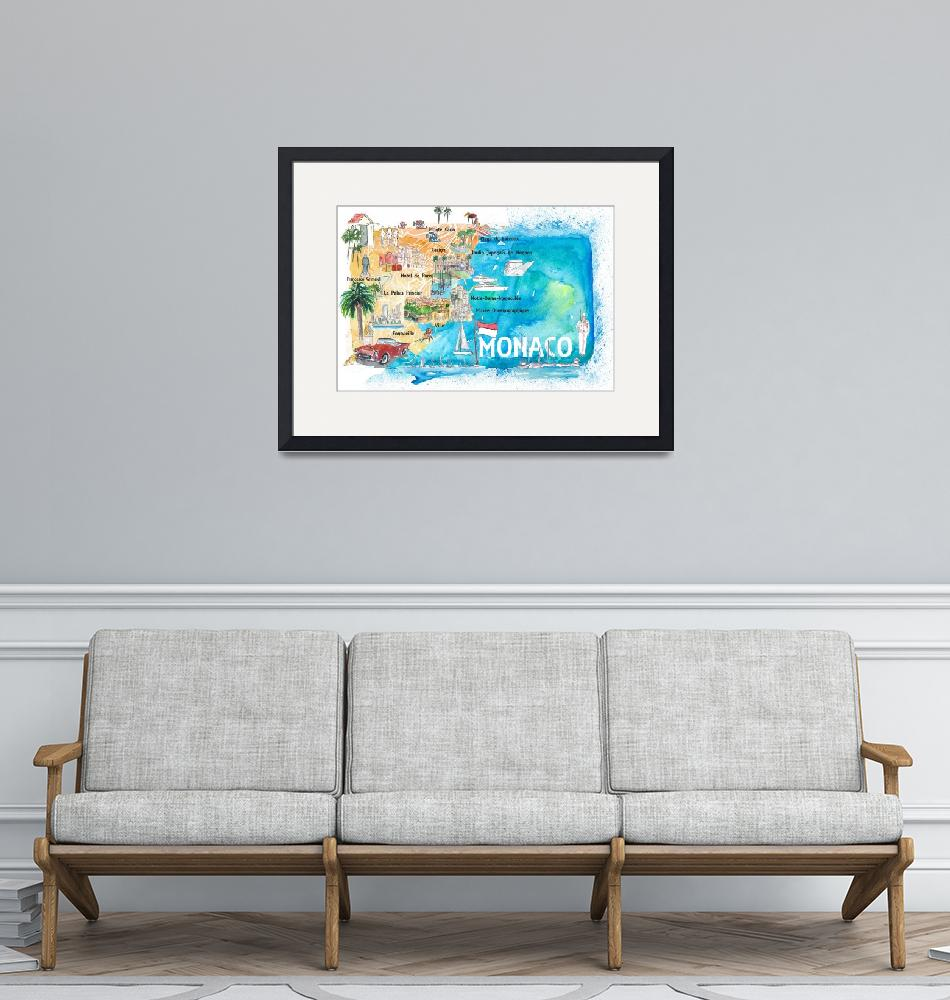"""Monaco Monte Carlo Illustrated Map with Landmarks""  (2020) by arthop77"
