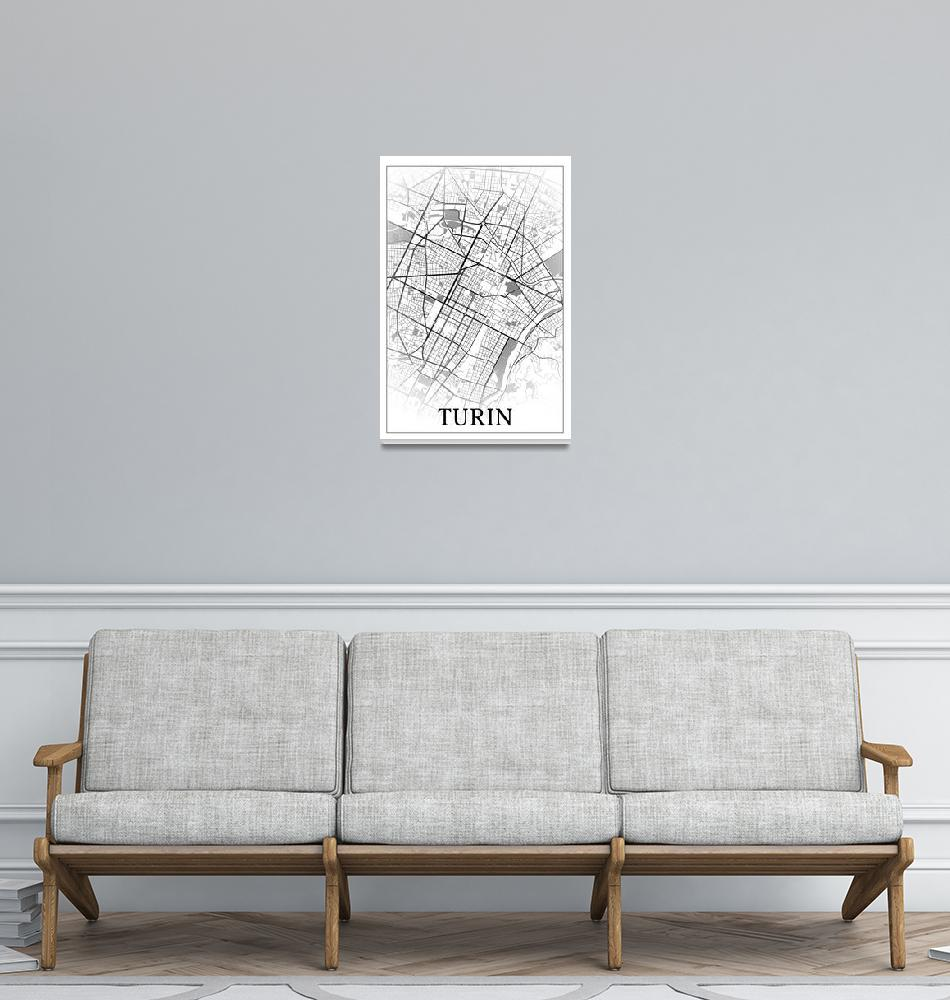 """Turin, Italy, city map print.""  by dandistudio"