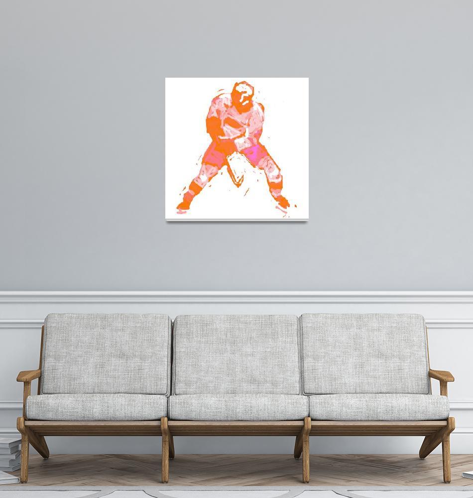 """""""Hockey Defenseman orange pink purple (c)""""  (2014) by edmarion"""