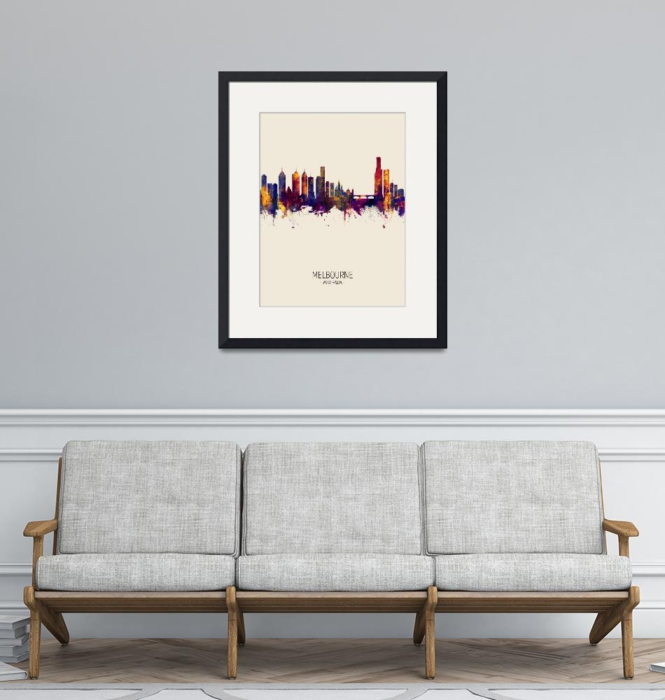 """Melbourne Australia Skyline""  (2018) by ModernArtPrints"