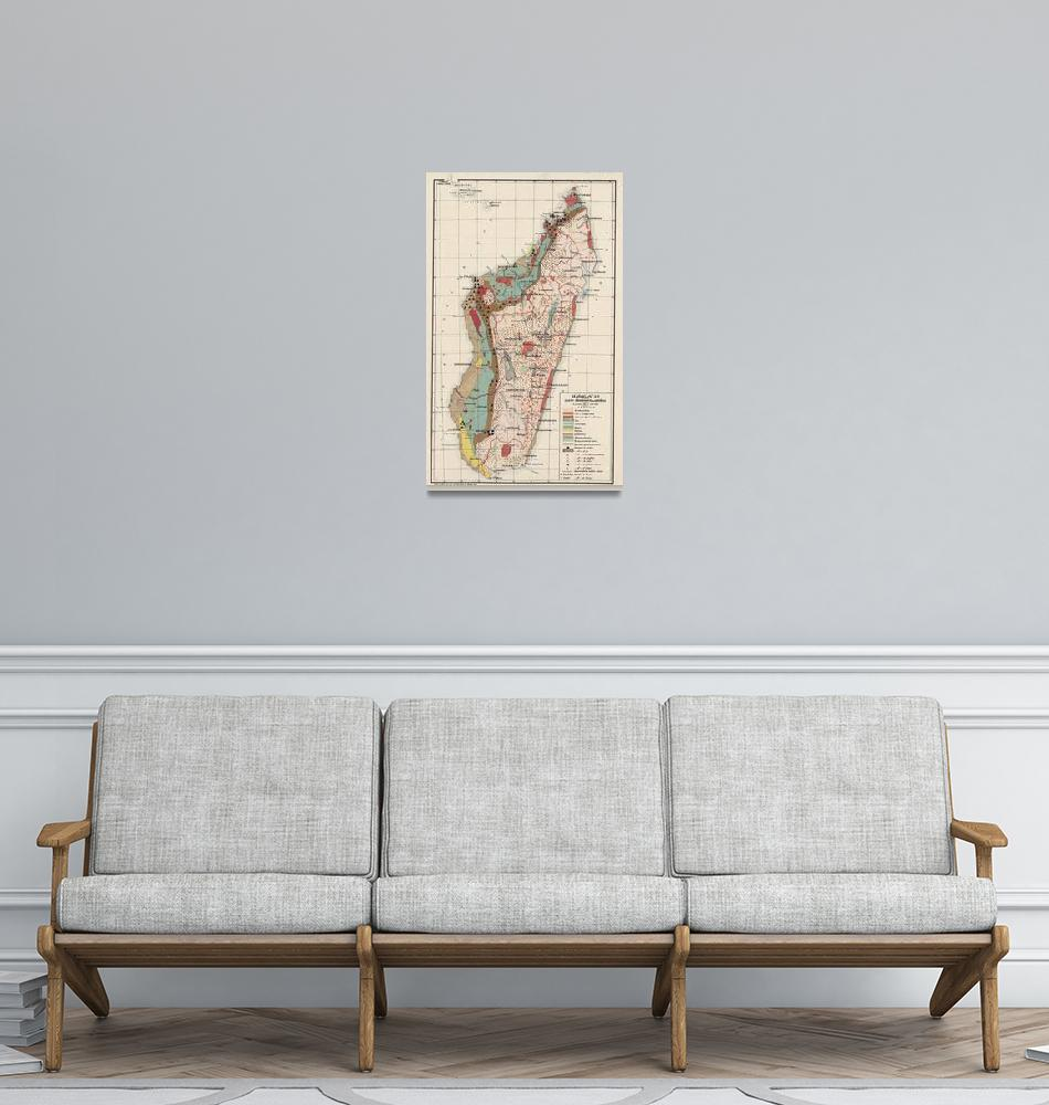 """Vintage Geological Map of Madagascar (1922)""  by Alleycatshirts"
