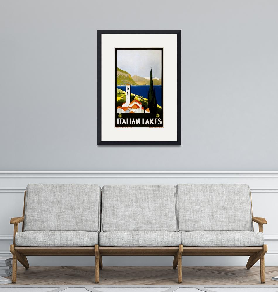 """""""Italian Lakes Vintage Travel Poster"""" by FineArtClassics"""