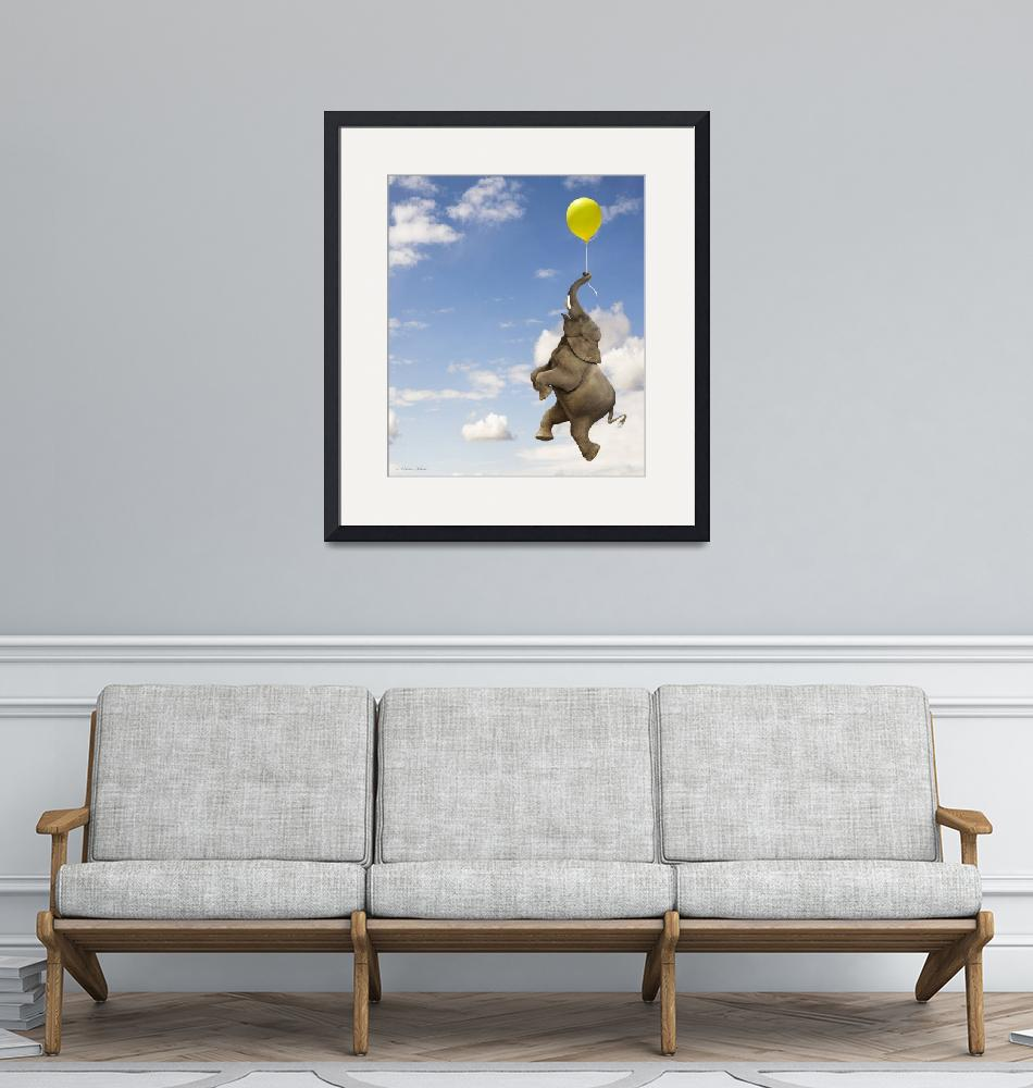 """""""Elephant grasping the balloon string floating up""""  (2008) by StephanieDRoeser"""