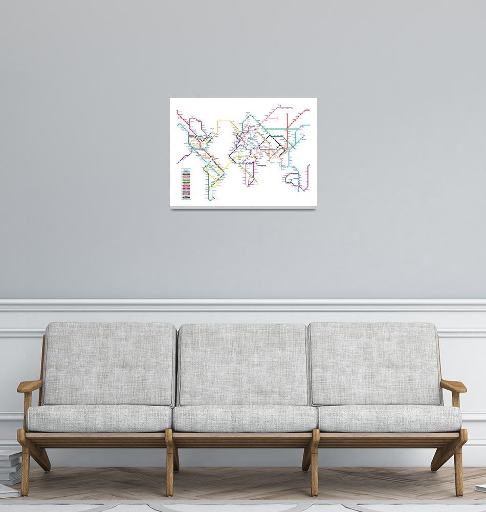 """World Tube Metro Map""  (2010) by ModernArtPrints"