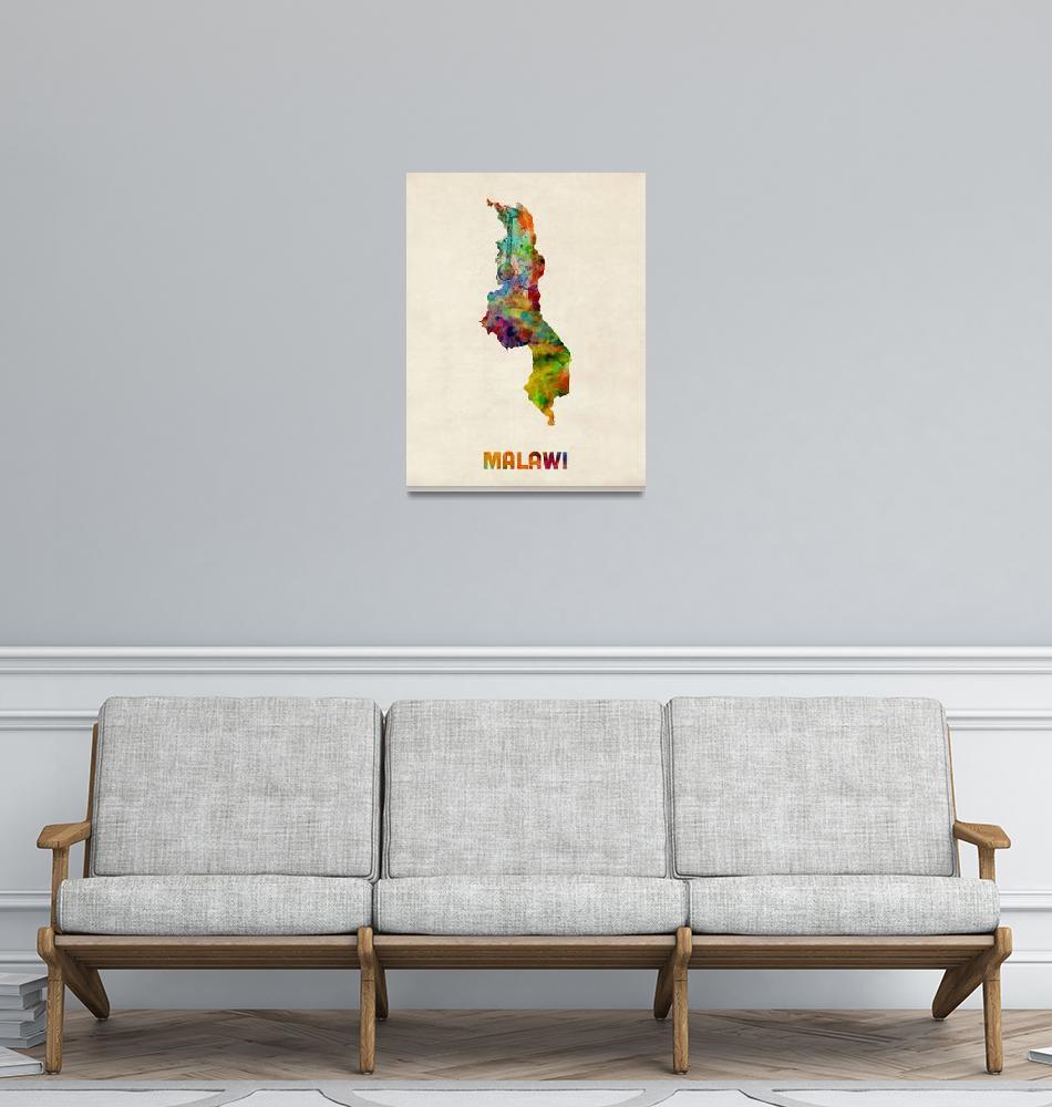 """""""Malawi Watercolor Map""""  (2014) by ModernArtPrints"""