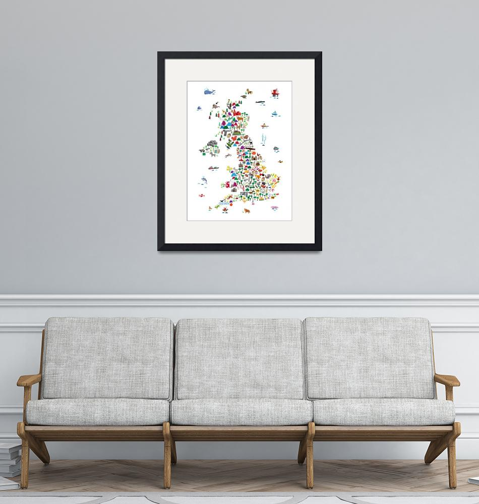 """""""Animal Map of Great Britain & NI for children and""""  (2017) by ModernArtPrints"""