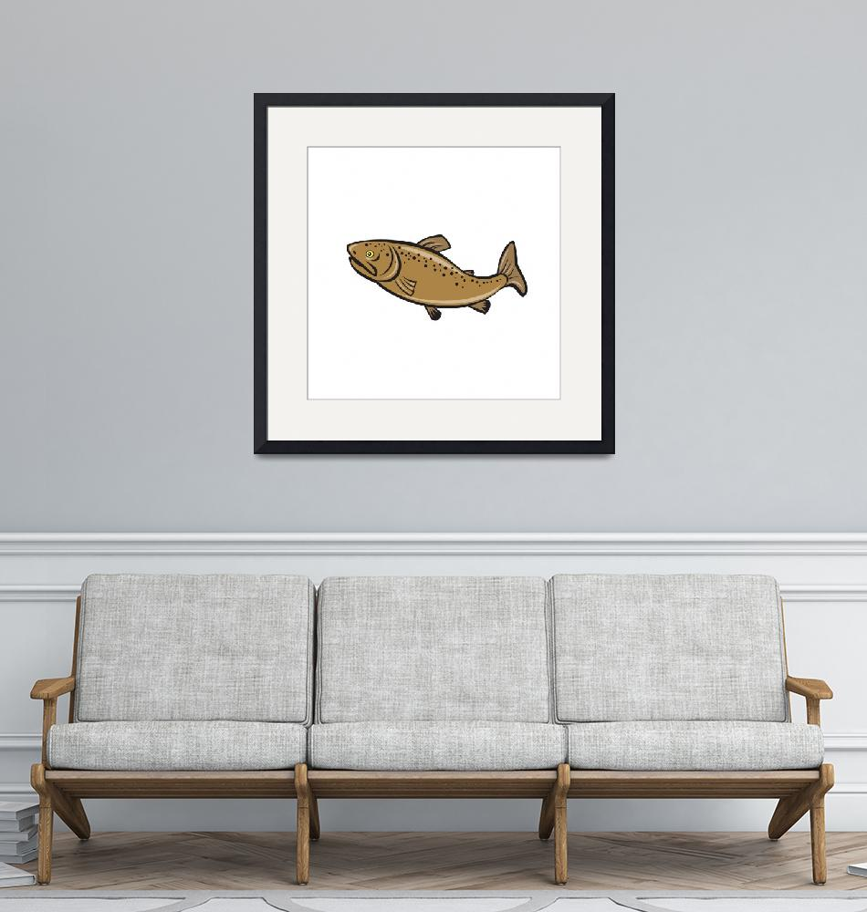 """Brown Trout Fish Side Cartoon""  (2015) by patrimonio"