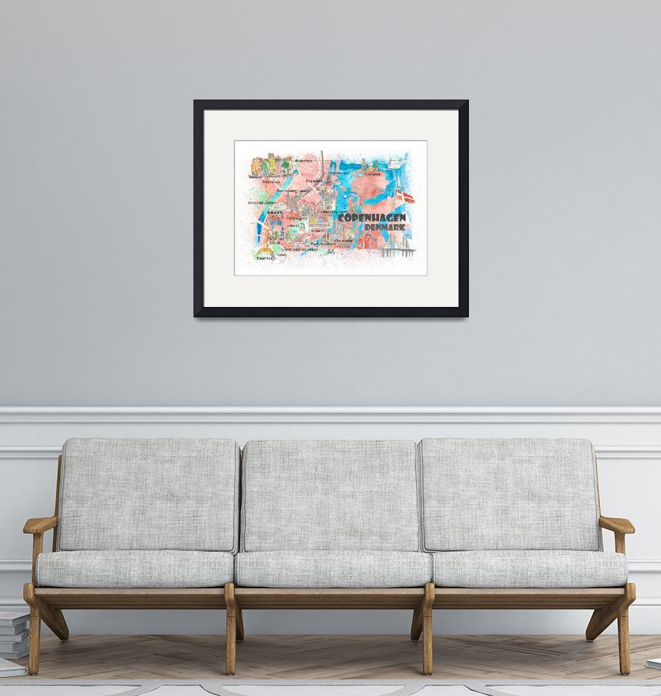 """""""Copenhagen Denmark Illustrated Map with Main Roads""""  (2019) by arthop77"""