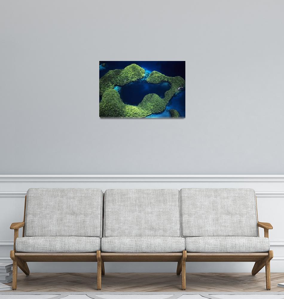 """Micronesia, Palau, Rock Islands, Aerial Of Rock Is""  by DesignPics"