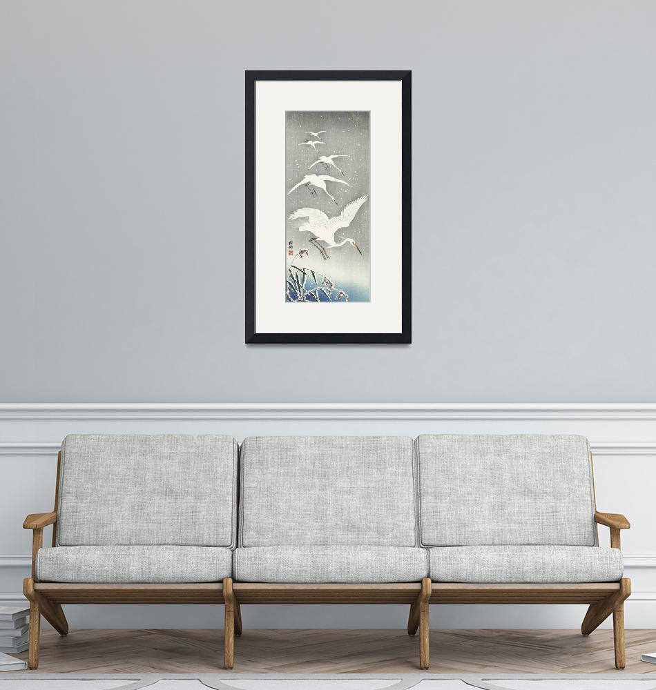 """Descending Egrets in Snow by Ohara Koson""  by FineArtClassics"