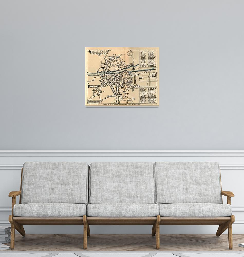 """Vintage Map of Dublin Ireland (1610)""  by Alleycatshirts"
