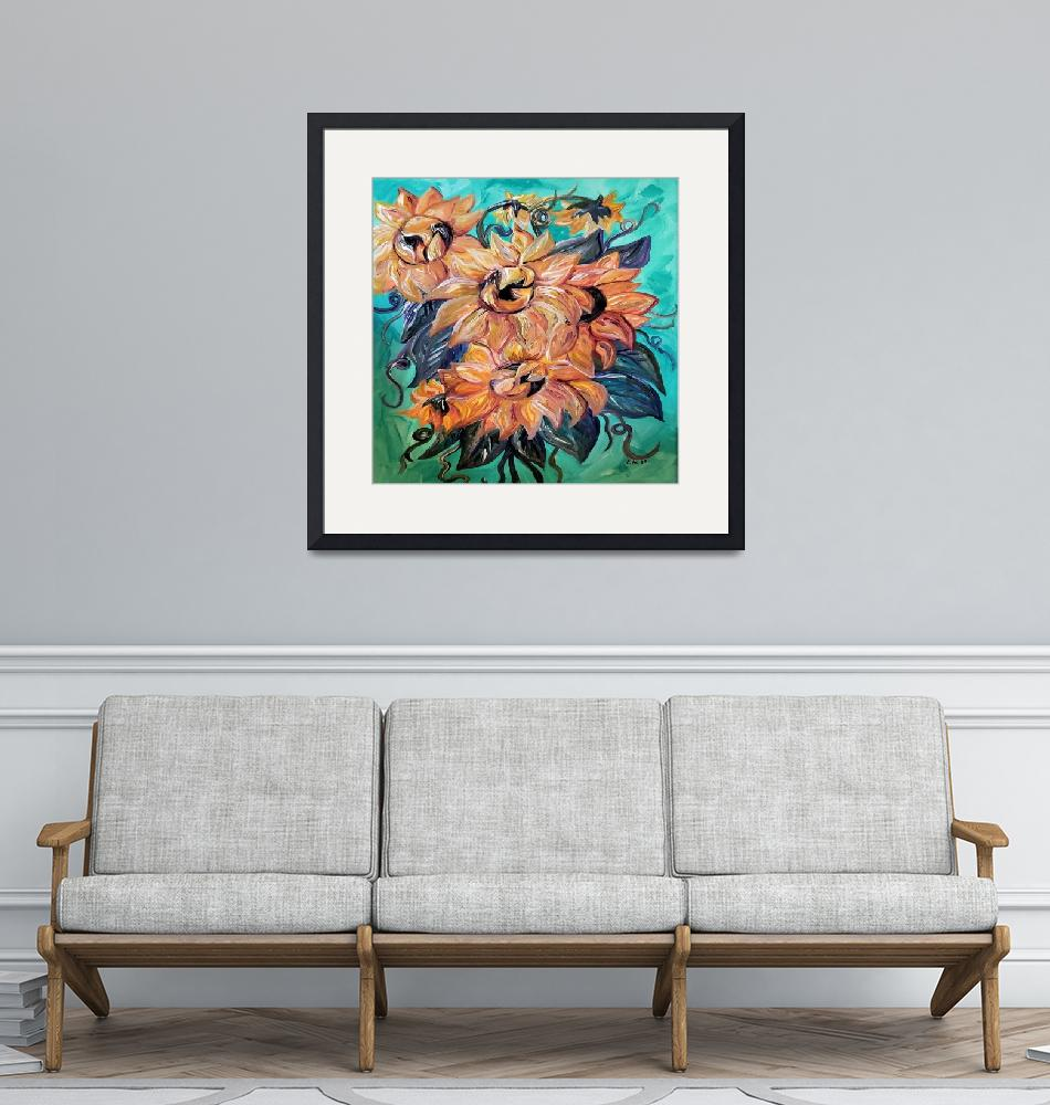 """Sunflowers on Teal and Blue Background""  by EloiseArt"