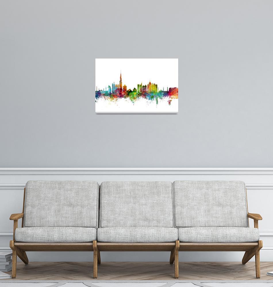 """Dubai Skyline""  (2014) by ModernArtPrints"