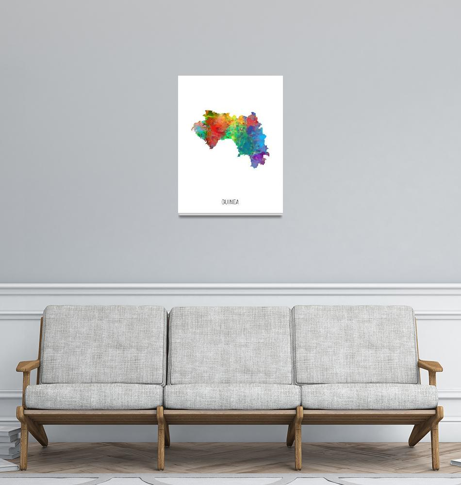"""Guinea Watercolor Map""  (2019) by ModernArtPrints"