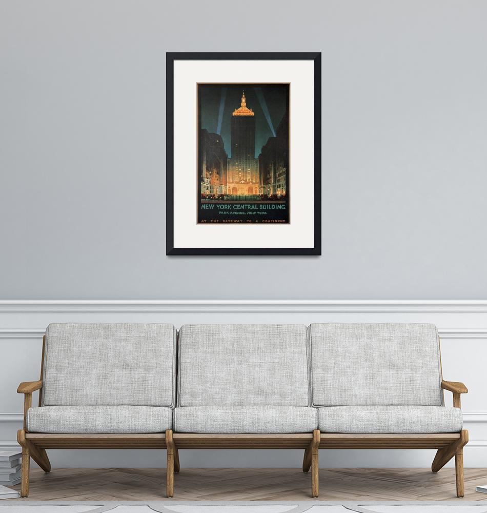 """""""New York Central Building, Park Ave, NY Poster""""  by FineArtClassics"""
