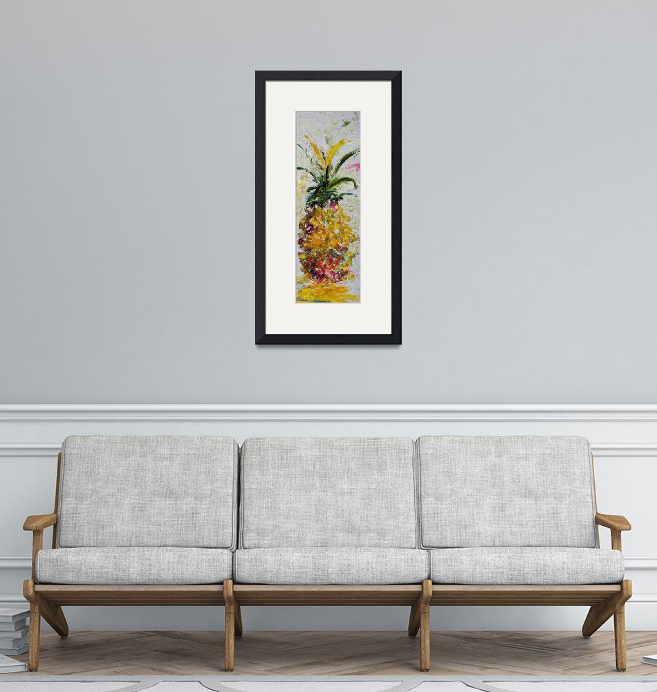 """Modern Pineapple Expressive Oil Painting""  (2012) by GinetteCallaway"