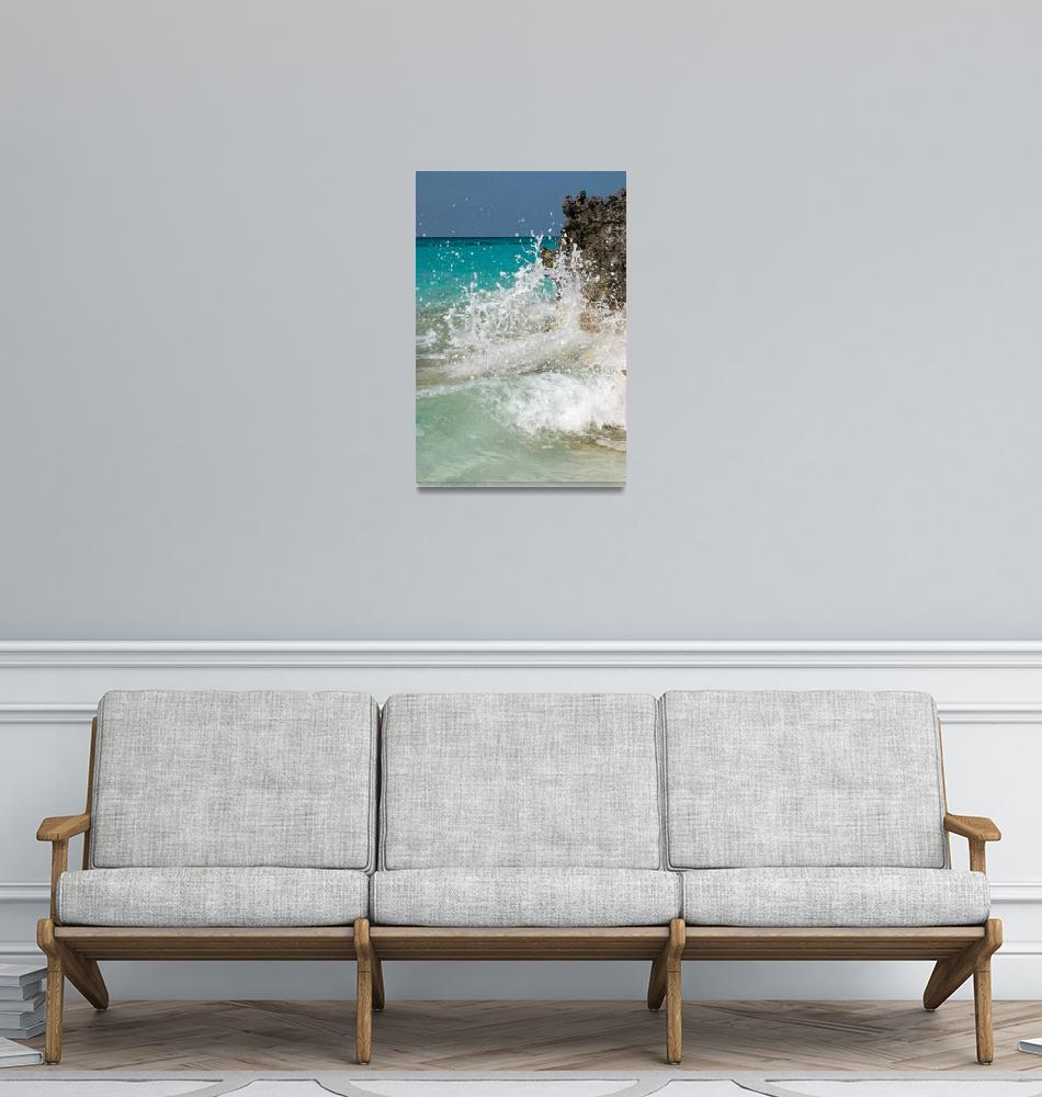 """""""Waves crashing on coast, Rose Island, Bahamas""""  by shanepinder"""
