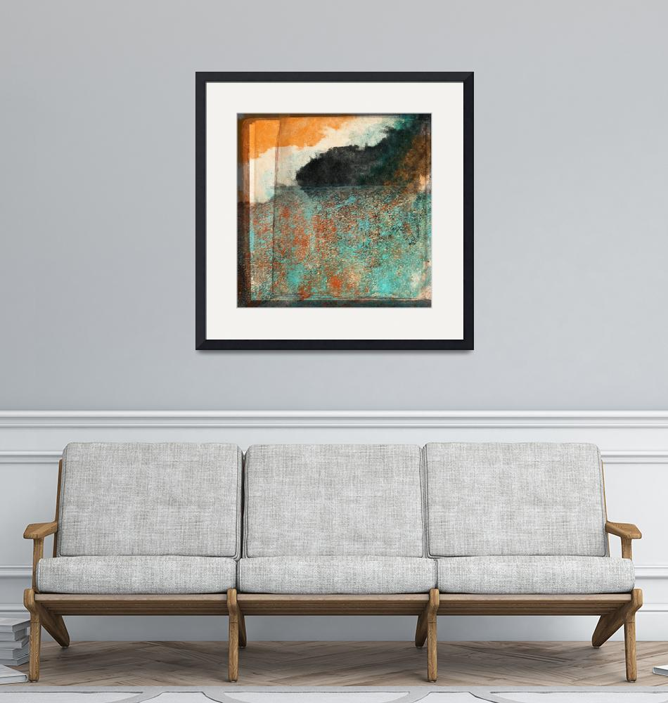 """""""Aqua and Orange with Black Layered Abstract""""  (2018) by JessieLee72"""